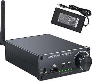 AUTOUTLET - Amplificador Bluetooth 5.0, 100 W + 100 W, 2 canales, clase D, amplificador de audio digital de alta fidelidad, 192 kHz/24 bit, DAC, óptico, coaxial, convertidor de audio USB a analógico