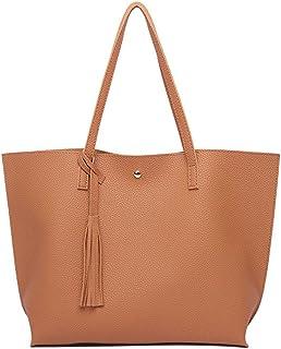 PB-SOAR Damen Mädchen Fashion Shopper Schultertasche Schulterbeutel Henkeltasche Handtasche Einkaufstasche aus Kunstleder 36x30x11cm B x H x T Braun