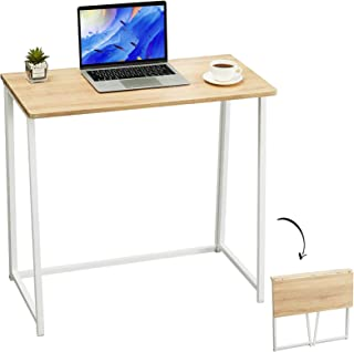 """GreenForest Folding Computer Desk No-Assembly 31.5"""" Foldable Small Writing Desk Study Table for Home Office,Oak"""