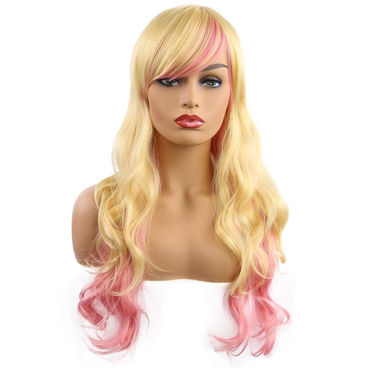 うめきスラックグロー女性かつらふわふわリアルなかつら長いかつら長いかつら耐熱かつら多色グラデーション65 cm