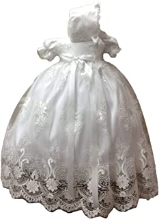 Faithclover Baby Girls Christening Baptism Dresses Floral Lace Special Occasion Gowns with Crystal Belt with Bonnet