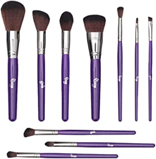 Qivange Makeup Brushes 10Pcs Professional Foundation Blending Makeup Brush Set Eyeshadow Lip Cosmetic Brush Kit Purple