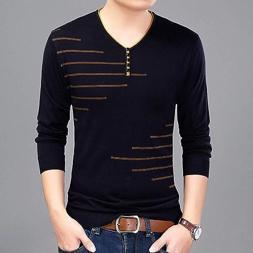 CLZC Hommes T-Shirt à Manches Longues T-Shirt Col en V T-Shirt Tricoté Pour des hommes Slim Fit Tout Neuf hauts & T-Shirts