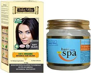 Indus Valley 100% Organic Botanical Soft Black Ayurvedic Hair Color with Hair Eaze Spa 175ml