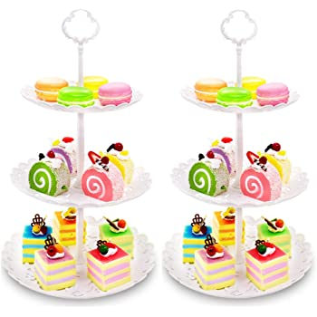 Cupcake Stand,Imillet 2 Pack of Dessert Stand 3 Tier Serving Stand Cake Stand White Cupcake Holder Plastic Cake Stand for Wedding Home Holiday Birthday Christmas Party Decor(big)