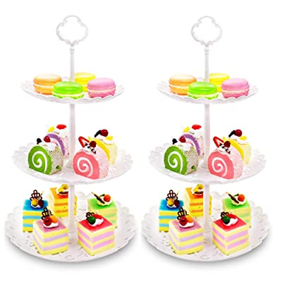 Imillet Two Pack of Three Tier Cake Stand Fruit...