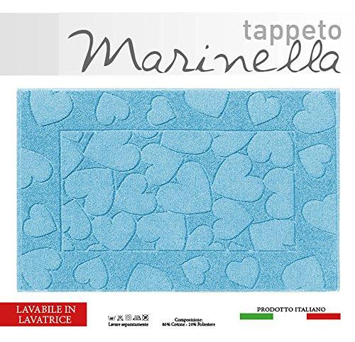 Centesimo Web Shop Tappeto Bagno in 2 Misure E 5 Colori - Prodotto in Italia - Tessuto Misto Cotone SCENDIDOCCIA Cuori Cuore Cuoricini - 40x60 cm Azzurro