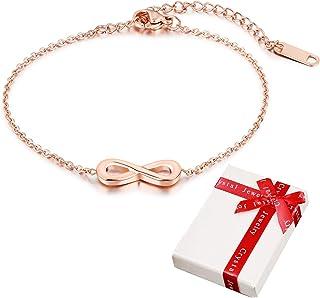 Pulsera de mujer Cubic Zirconia 925 Joyer/ía de plata esterlina para mujer Chica,S/ímbolo de infinito Infinito Pulseras de amor infinito Pulseras de brazalete Regalo para Navidad Cumplea/ños San Valent/ín