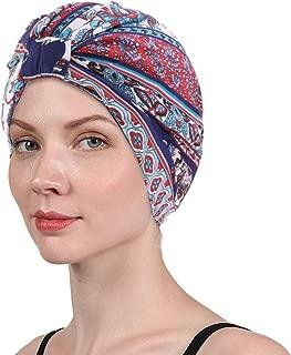 Women's Turban Cotton Double Layer Satin Liner Chemo Cap Flower Print Beanie Head wrap Bonnet Hair Loss Hat