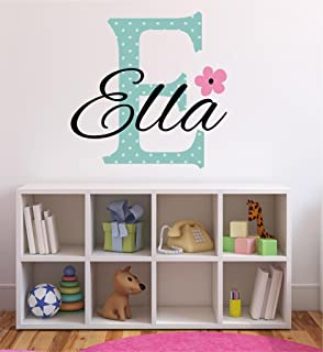 Flower Initial Custom Name Wall Decal - Flower Wall Sticker, Nursery Decor, Custom Name Decal, Baby Girl Wall Decal, Flower Wall Decals B9