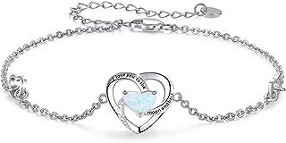 I Love You to The Moon and Back Bracelet 925 Sterling Silver Heart Opal Bracelet Moonstone Bracelet Birthday Bracelet Gift...
