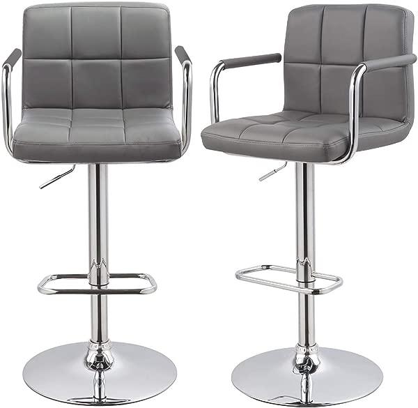 Bar Stool Kitchen Bar Stools With Backrest Armrest Set Of 2 Duhome WY 451K Bar Chair Grey