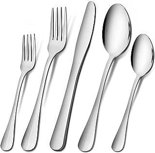 Silverware Set, Imgmnlc 20-Piece Stainless Steel Silverware Flatware Cutlery Set for 4, Knife Fork Spoon Flatware Set, Mod...