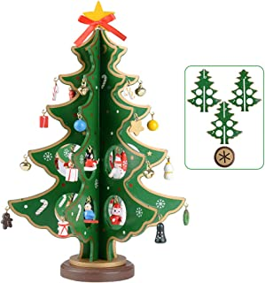 SERWOO (Altura 28cm) Navidad Árbol Madera Adorno Decoración Navideño Mesa Hogar Fiesta Regalo Bricolaje Dibujos Animados a Montar para Familiares Amigos - Verde