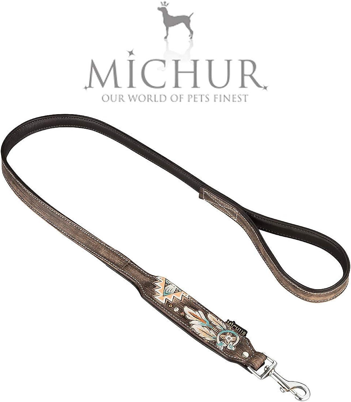 MICHUR Halona Dog Leash Leather, Leather Leash Dogs, LEATHER, Falchleine, Black Brown. Gr. 120cm x 2.5cm, fits Halona Collar