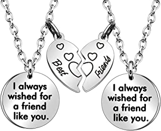JJIA Best Friend Necklaces for 2, 2PCS Women Necklace with Broken Heart Pendant Christmas Birthday Gifts