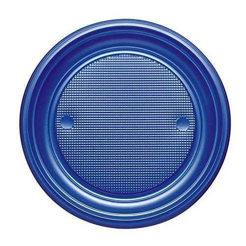 25 Assiettes Plastique Bleu Marine 17 CM