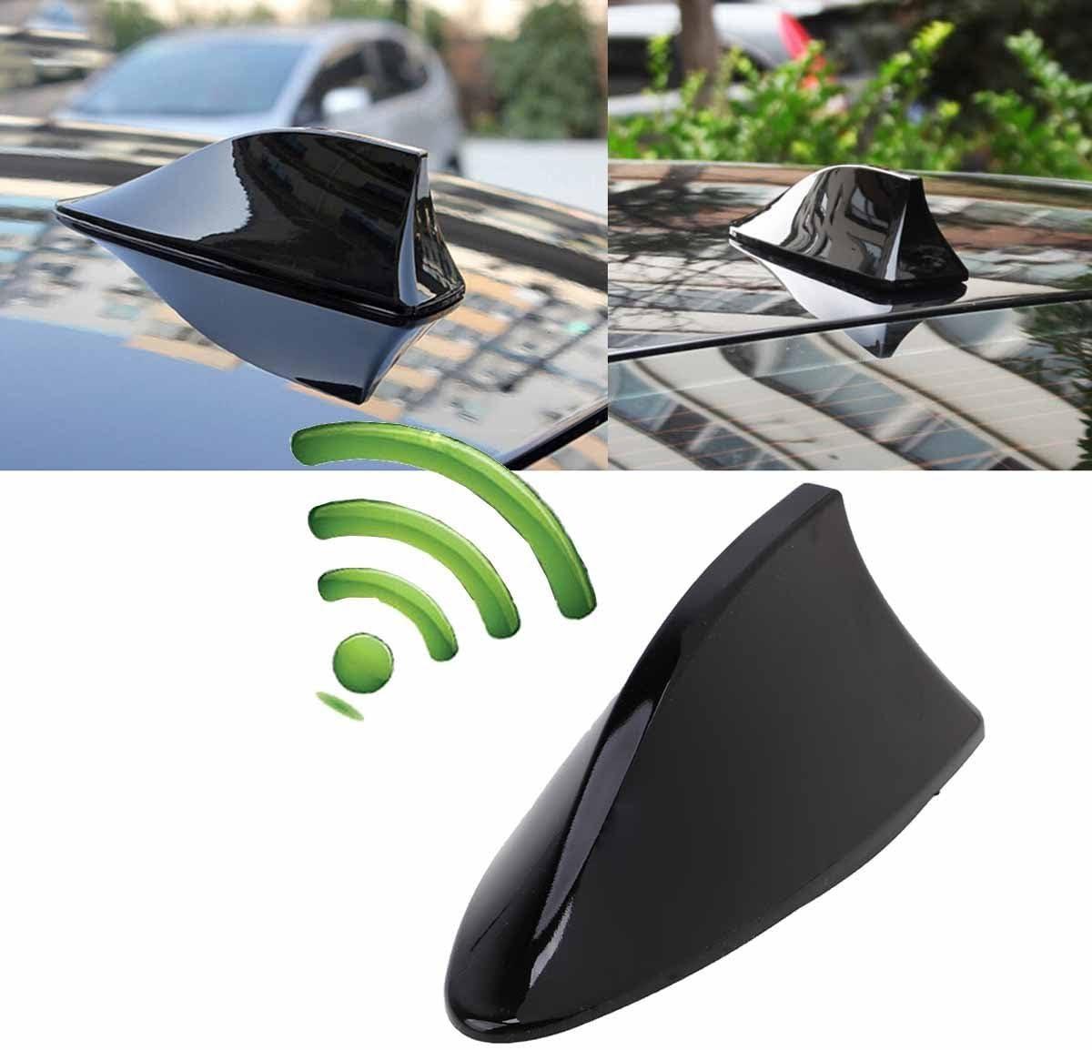 Possbay - Antena universal en forma de aleta de tiburón para coche, antena de techo AM / FM con amplificador