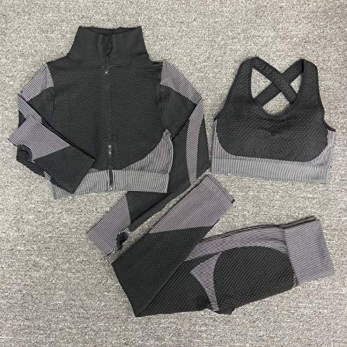 Set di yoga da donna senza cuciture Abiti da palestra per lo sport femminile Abiti da corsa per donna Fitness per lo sport Vestito da yoga Manica lunga Abbigliamento da yoga M whiteset3pcs
