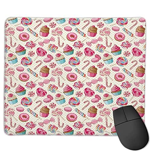 Mauspad,Leckerer bunter süßer Lutscher-Bonbon-Makrone, Anti-Rutsch-Gummibasis Gaming Mouse Pad Mat Desk Decor 9.5