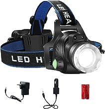 LED Headlamp, XM-L T6 High Lumen Waterproof 3 Modes LED Sensor Headlight Rechargeable Flashlight for Camping Riding Fishin...