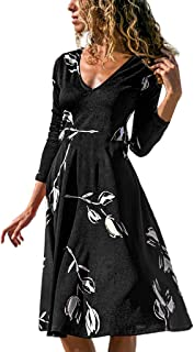 HebeTop ✰ Womens Summer Casual Sleeveless Floral Printed Off Shoulder Knee Length Casual Party Dress Sundress
