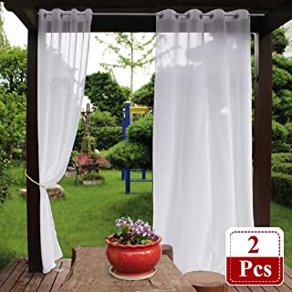 NICETOWN Outdoor Curtain Panels for Porch - Water Repellent Semitransparent Sheer Outdoor Drapes for Cabana with Rope Tiebacks, Faux Linen Outdoor Curtains (2 Panels, 54 by 84 Inch, White)