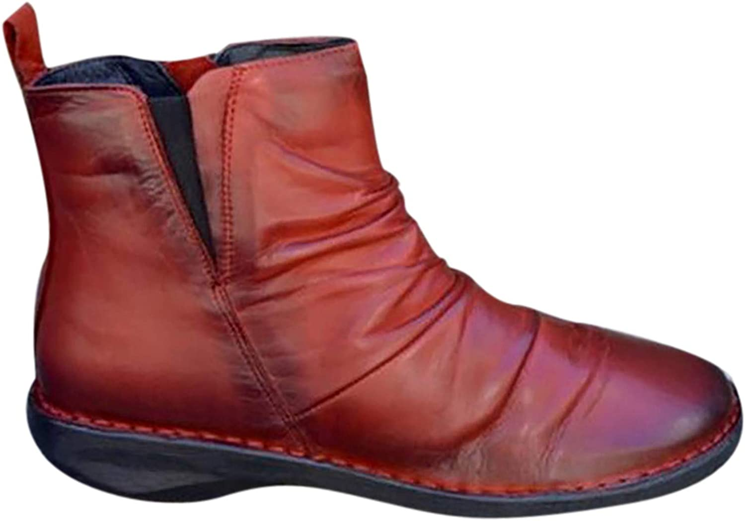 Winsummer 数量限定 Women's Slouchy Short Boots Leather Casual 祝開店大放出セール開催中 Toe Round S