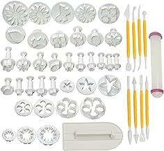 HOSL Cake Tools 14 sets (46pcs) Flower Fondant Cake Sugarcraft Decorating Kit Cookie Mould Icing Plunger Cutter Tool, White