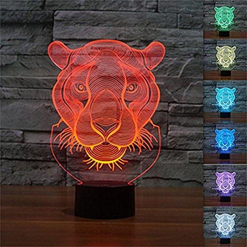 Nightwolf Lámpara Tigre 3D luz nocturna 7 colores cambian lámpara de mesa LED Navidad juguete regalo