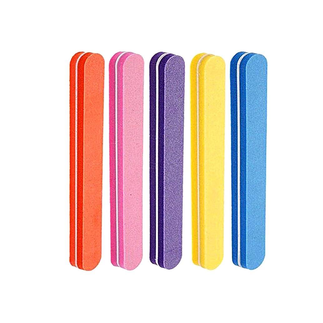 これまで珍味チーターネイルファイル 5色スポンジネイルバッファー 100/180グリット ジェルネイル用 (5本セット)