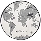 Exttlliy Adventure World Map Pattern Baby Crawling Mats Floor Playmats Activity Round Carpet for Kids Infant Child 53 Inches