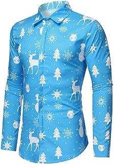 Camisa Navidad Liquidación Camisas Hombre de Manga Larga Casual Shirts Moda Ropa Hombres Corte Slim Camisa de Solapa Print...