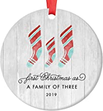 First Christmas As A Family of Three Ornament 2019 Farmhouse Woodsy Newborn New Baby Parents Mom Dad Xmas Present Mommy Daddy Ceramic Porcelain Keepsake 3