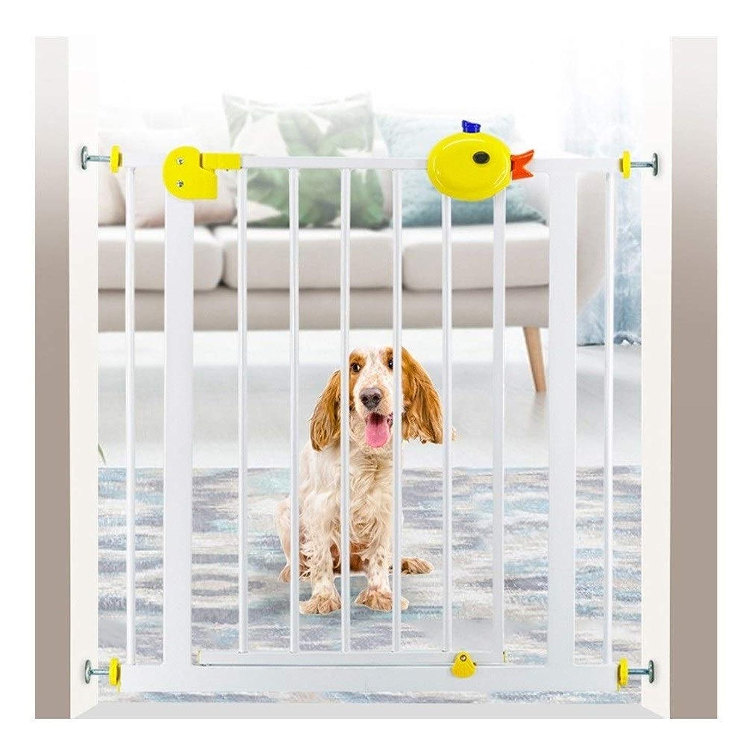 夫見かけ上電話に出るZHANWEI ベビーゲート 拡張可能、 階段用ベビーゲート 圧入 メタルエクストラワイドペットゲート、 子供やペットに最適 (Color : White+Yellow, Size : 85-94cm)