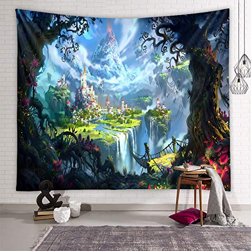 MMHJS European-Style Fantasy Forest Bedside Dormitory Wall Decoration Tapestry 3D Printing Blocking Hanging Cloth Living Room Bedroom Homestay Party Hanging Cloth