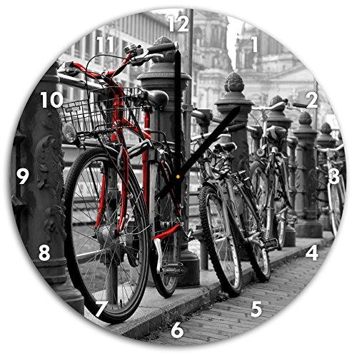 Vélos axe navigable noir blanc, diamètre 48cm / horloge murale avec le noir a les mains et le visage, objets décoratifs, Designuhr, aluminium composite très agréable pour salon, bureau