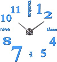 Wenzi-day DIY Home Decoration Wall Stickers Brief Style Still Life Quartz Living Room Wall Clock,Sky Blue,27inch