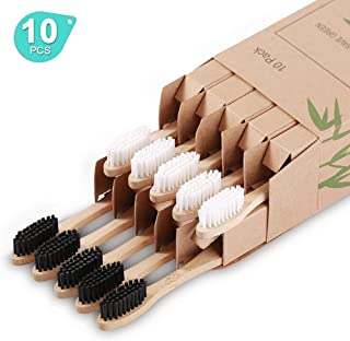 Nuduko Biodegradable Reusable Bamboo Toothbrushes, Bamboo Toothbrush made from Natural wooden and Eco-Friendly BPA Free Bristles, 10 pack