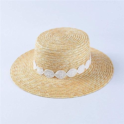 QQHBC Chapeau De Paille Chapeau De Soleil Femme Chapeau De Paille De Blé Naturel Décoration Unique Chapeau De Plage à grands Bords