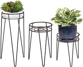 mDesign Midcentury Lot de 3 Supports Pot de Fleurs Moderne en métal – Supports pour plantes d'intérieur & extérieur de forme ronde – Portes pot de fleurs sur pied, jardinières vintage – bronze