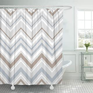 Emvency Shower Curtain Set Waterproof Adjustable Polyester Fabric Beige Color Gray Blue and White Chevron Ikat Geometric Abstract Brown Contrast 72 x 78 Inches Set with Hooks for Bathroom