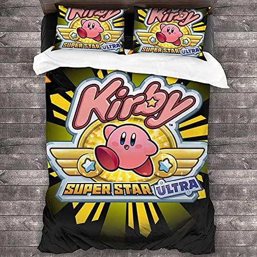 Kirby Beam Anime - Juego de funda de edredón y funda de almohada (3 piezas, 200 x 200 cm + 80 x 80 cm x 2)