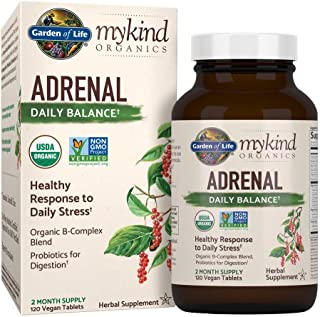 Garden of Life mykind Organics Adrenal Daily Balance 120 Tablets-Healthy Stress Response-Adaptogenic Herbs Ashwagandha, Holy Basil, B-Complex, Probiotics, Organic Non-GMO Vegan Gluten Free Supplement