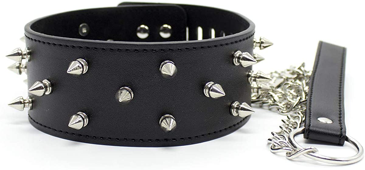 Vintage Punk Goth Studded Rivet Pu Leather Black Collar Choker Necklace with Belts Chains for Women