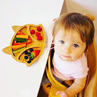 Personalized Baby Plate Bamboo, Suction Plates for Toddlers,