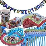 WENTS Gebutstag Party Set 52-Teiliges Party-Set Paw Patrol Teller Becher Servietten Trinkhalme für 8 Kinder Geburtstag Dekoration Set Happy Birthday Deko Bunte Partykette