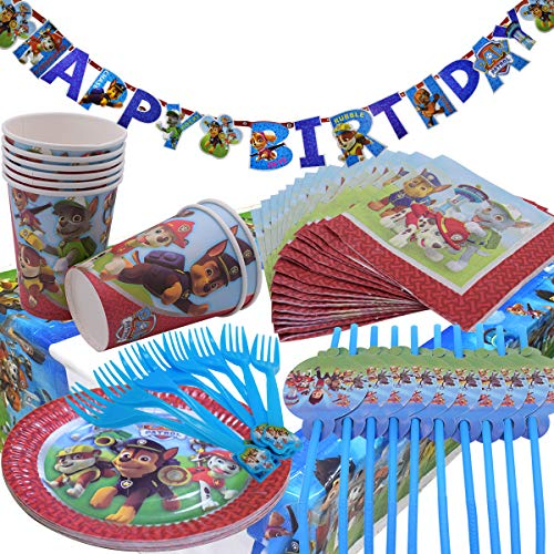 WENTS Gebutstag Party Set 52-Teiliges Party-Set Paw Patrol Teller Becher Servietten Trinkhalme für 8 Kinder Geburtstag Dekoration Set Happy Birthday Deko Bunte Partykette