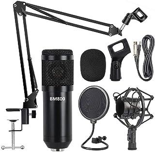 Professional Metal Studio Condenser Microphone Kit BM800 with Pop Filter - Scissor Arm Stand - Shock Mount for Studio Reco...