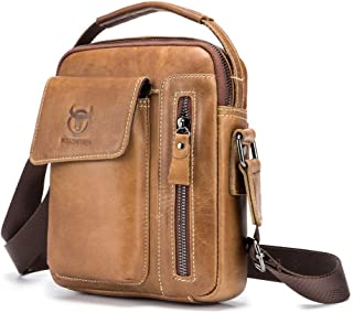 Haibeisi Fashion Unique Men's Shoulder Bag Suede Leather Messenger Bag Sports and Leisure Leather Vertical (Color : Beige, Size : M)